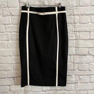 KAREN MILLEN Black Pencil Skirt with White Belt